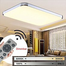 COOSNUG 64W Warmweiss Modern Dimmbar LED Ultraslim Deckenleuchte Badleuchte Deckenlampe Flurleuchte Silber 3000-6500K