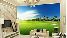 MYLOOO Fototapete Golfwiese Tapete Wohnzimmer