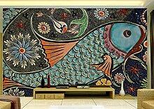 MYLOOO Nordischer Fisch Tapete 3D Vlies Wand Tapete