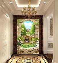 MYLOOO Tür Fototapete Bogengarten Dekorfolie
