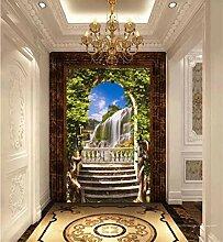 MYLOOO Tür Poster Bogen Balkon Wasserfall Tapete