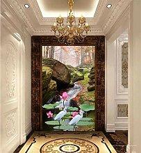 MYLOOO Tür Poster Waldbach, Lotus Tapete