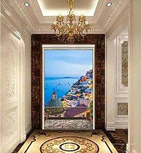 MYLOOO Türposter Balkon Ägäis Tür Fototapete