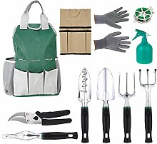 mymotto 11pcs Gartengeräte Kleingeräte Garten Grundausstattung Garten Werkzeug Set (Grün)