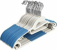 mymotto 20 Stück Kunststoff Kleiderbügel rutschfeste Anzugbügel Jackenbügel Wäschebügel Garderobenbügel nass trocken robuste Kleiderbügel Set (Blau)