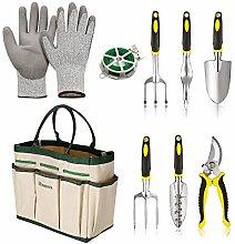 mymotto Multifunktion 9 in 1 Gartenwerkzeug Set wasserdichte Gartengeräte Pflanzen Set für Gartenarbeit mit Tasche (Weiß)