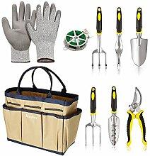 mymotto Multifunktion 9 in 1 Gartenwerkzeug Set wasserdichte Gartengeräte Pflanzen Set für Gartenarbeit mit Tasche (Beige)