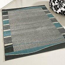 mynes Home Teppich Kurzflor Wohnzimmer mit Bordüre Umrandung uni Design Designerteppich pflegleeicht in Türkis (160 x 220 cm)