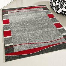 mynes Home Teppich Kurzflor Wohnzimmer mit Bordüre Umrandung uni Design Designerteppich pflegleeicht in Rot (200 x 280 cm)