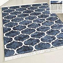 mynes Home Teppich Waschbar und rutschhemmend für Wohnzimmer/Küche/Bad Modern Designer Blau Schwarz Marrokanisches Design meliert (160cm x 230cm)