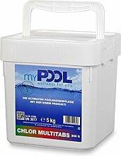 myPOOL Chlor MultiTabs 200g im 5,0 kg Eimer   Große langsam lösliche Multifunktionstabletten für Pools mit Sandfilter
