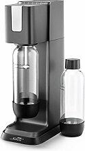 mySodapop Jerry Wassersprudler-Set inklusive 2 Pet-Flaschen, CO2-Zylinder für 60 L und 3 Geschmacksproben, schwarz / anthrazi