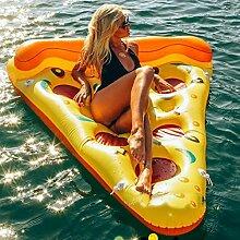 Mystery&Melody Riesige Rose Gold Flamingo Float Pool Aufblasbare Schwimmbecken Float Raft Liege Floating Lounge Spielzeug für Erwachsene Kinder Float (Pizza)
