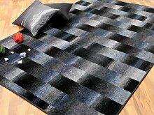 Mystic Designer Velour Teppich Karo Blau Grau