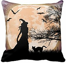 Mystical Hexe und Katze Full Moon Kissen