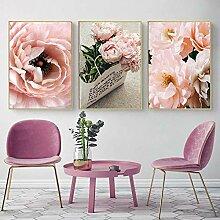 MYSY Leinwand Malerei Wandkunst Poster Rosa Rosen