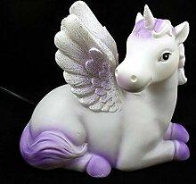 Mythische Einhorn Pferd violett & weiß Nacht