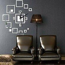 Mzl DIY-Spiegel Wand Uhr quadratische Uhr Acryl