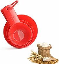 MZMZ-generic Gourmet Küche Backen Werkzeuge und Kunststoff Messbecher messlöffel Set von vier großen Maßstab verdickt Cup , ro