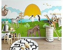 Mznm 3D Tapete für Wände Einfach Cartoon Tier