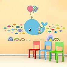 mznm Cute Cartoon Whale Wandaufkleber Kindergarten
