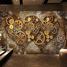 Mznm Wandbild Tapete für Wände Retro Herz Muster