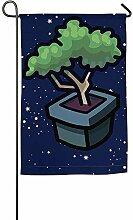 N/A Bonsai-Baum-Karikatur-Garten-Flagge Druckte