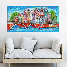 N / A Cheerful Painting Wall Picture City Canvas