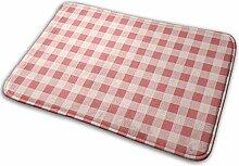 N/A Roter Rutschfester Teppich mit Karomuster für