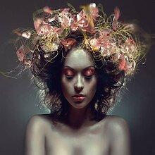 N / A Schöne Blumenmädchen Leinwand Malerei