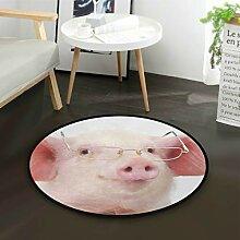 N\A Teppichbereich Cartoon Pink Pig Wear Brille