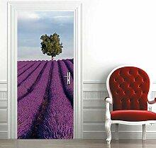 N / A Türaufkleber 3D 77x200cm Lavendel DIY Tür