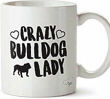 N\A Verrückte Bulldogge Lady Dog Bedruckte Becher