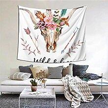 N\A Wandbehang Dekor Stierkopf mit Blumen und