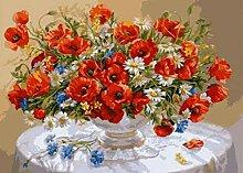 N/D Rote Bunte Blumen DIY Digitales Malen nach