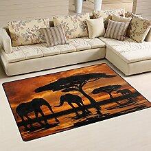 Naanle Afrikanischer Elefant, Rutschfest, Teppich