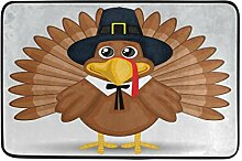 Naanle Eingang Fußmatte Cute Cartoon Thanksgiving