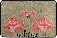 Naanle Eingang Fußmatte Flamingo Willkommen