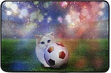Naanle Eingang Fußmatte Fußball Cat Fireworks