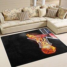 Naanle Fire Basketball Rutschfester Teppich für