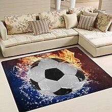 naanle Fußball rutschfeste Bereich Teppich für