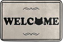 Naanle Fußmatte Welcome Cat Maschinenwaschbar