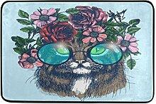 Naanle Katze Hochformat mit Blumenkranz und rund