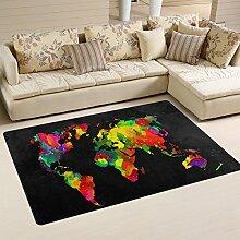 naanle mit Weltkarte, rutschfest, Bereich Teppich