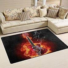 Naanle Teppich für Musikbereich, Feuergitarre,