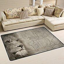 Naanle Teppich mit afrikanischem Löwenmotiv,