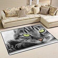 Naanle Teppich mit grünen Augen für Wohnzimmer,