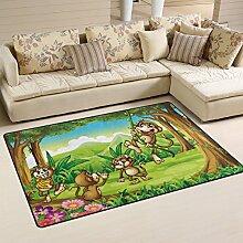 Naanle Teppich mit niedlichem Tierbereich, Affen