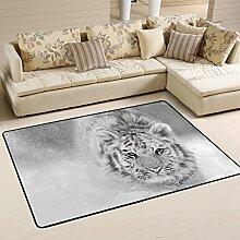 Naanle Teppich mit Tiger-Motiv, schwarz-weißer