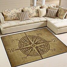 Naanle Vintage-Teppich mit Kompassrosen-Motiv,